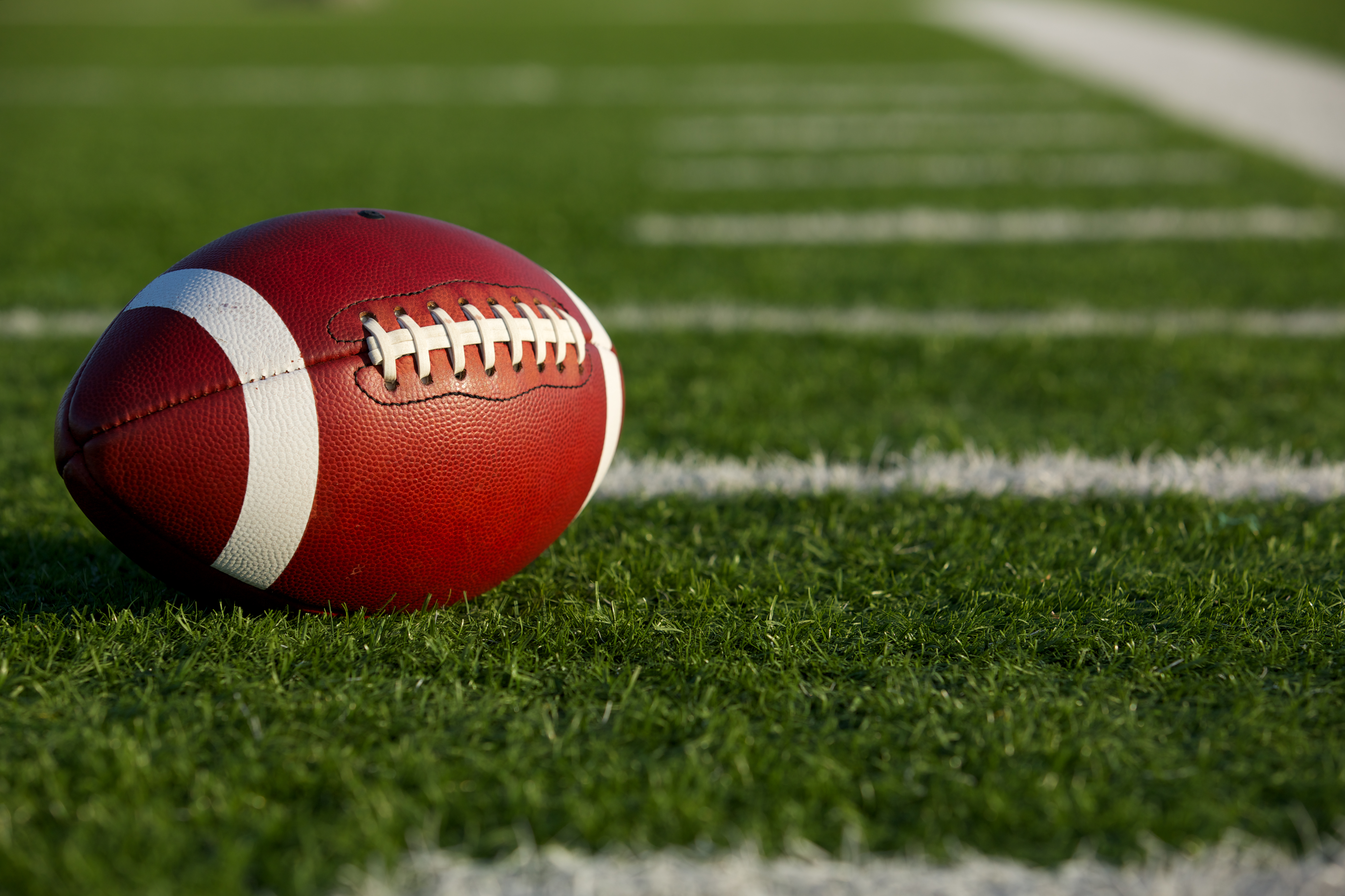 A football on the field
